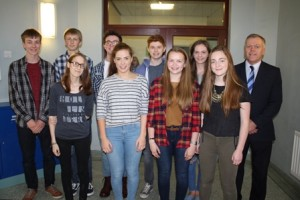Some of 12 AS pupils who achieved an outstanding 4 A grades in the 2016 exams